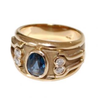 Ceylon Sapphire Diamond 18ct Gold Etruscan Ring