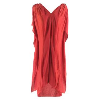 Stella McCartney Red Sleeveless Linen and Silk Blend Dress