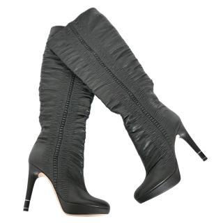 Dior Hermitage Black Ruched Leather Heeled Boots
