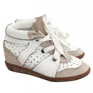 Isabel Marant Betty White Leather & Sand Suede Wedged Sneakers Dustbag