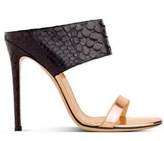 Gianvito Rossi 'Diane' Python & Leather Mules