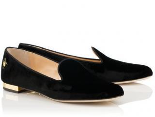 Charlotte Olympia Velvet Black Nocturnal Ballet Flats