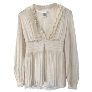 Diane Von Furstenberg pleated ivory blouse