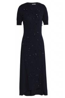 Nina Ricci  navy blue embellished midi dress