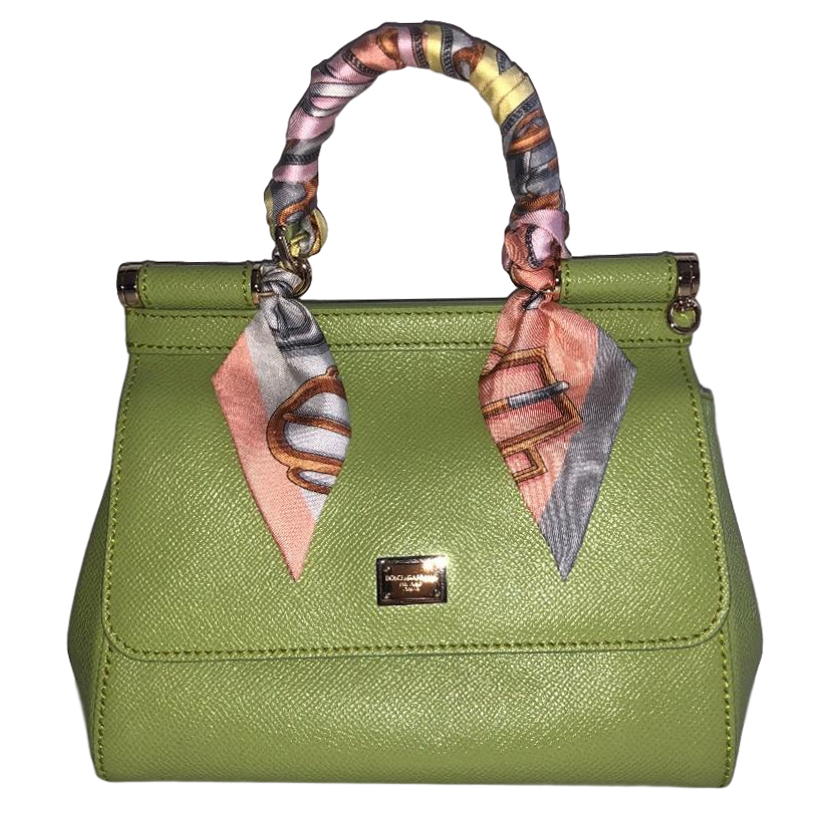 7935d5ecac2 Dolce Gabbana Small Lime Green Miss Sicily Bag W Hermes Twilly   HEWI London