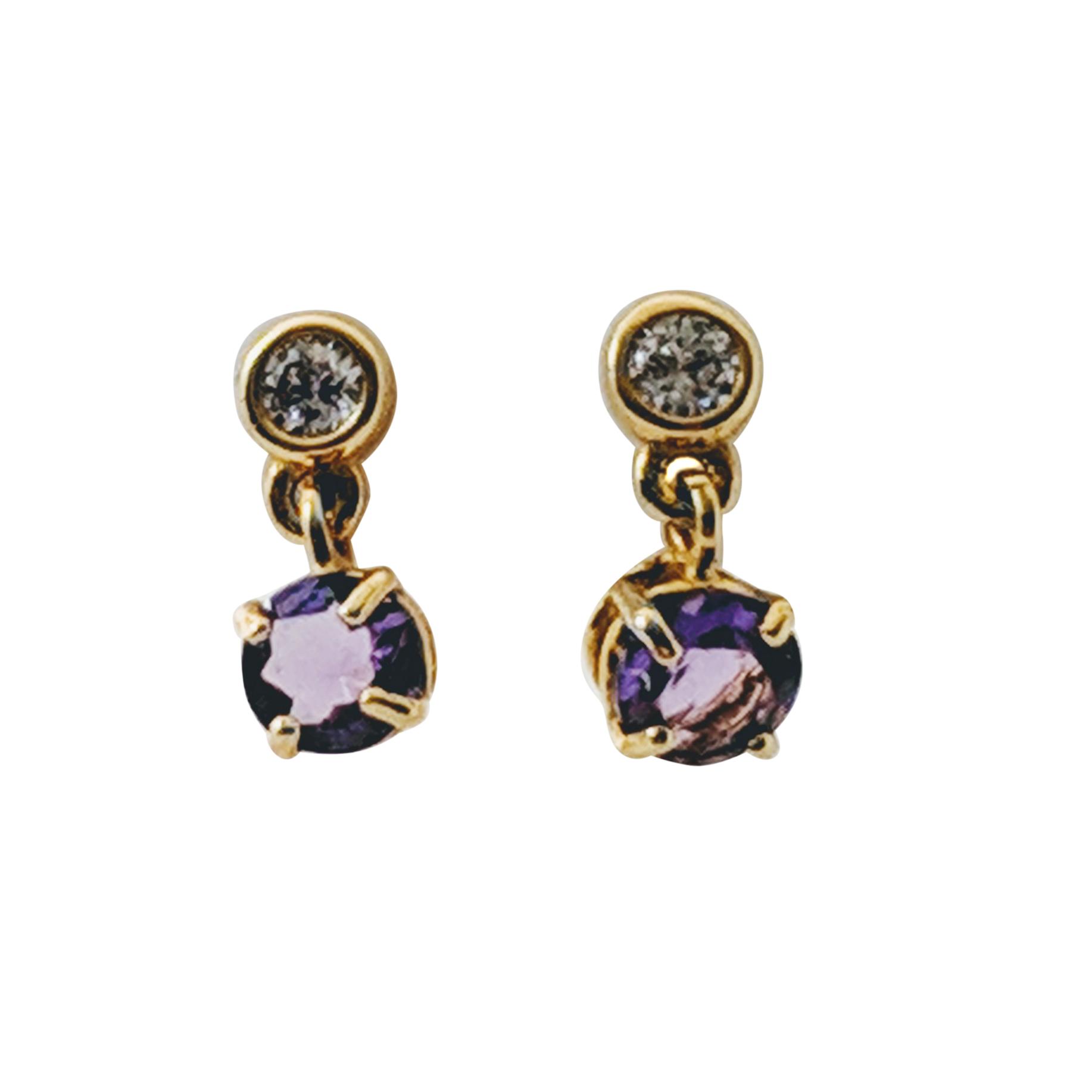 Bespoke Amethyst Dangle Drop Gold Earrings