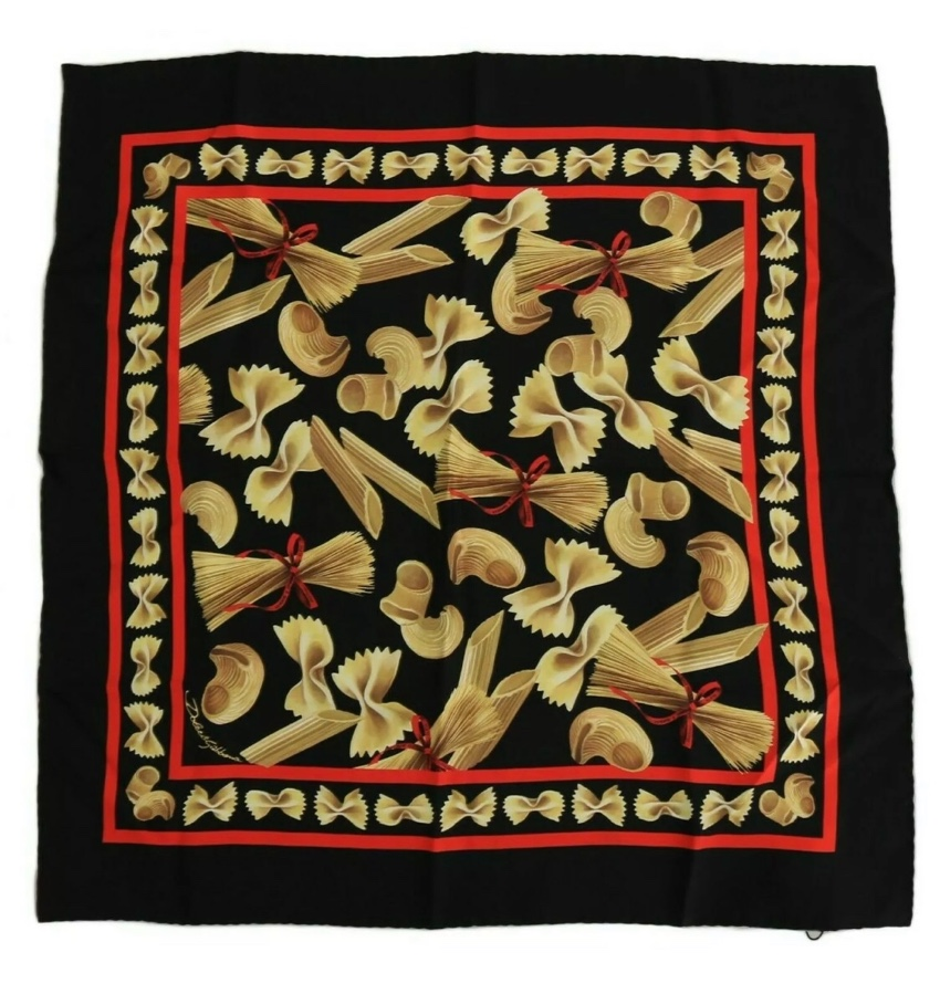 8a282a1c3b9 Dolce   Gabbana Italy pasta print silk scarf