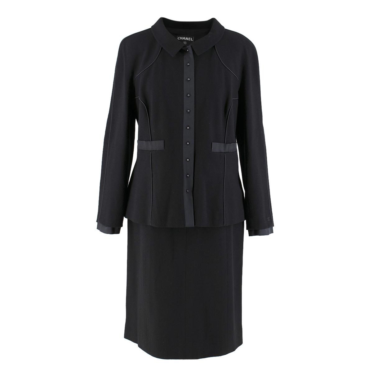 Chanel Vintage Black Wool Skirt and Jacket Set