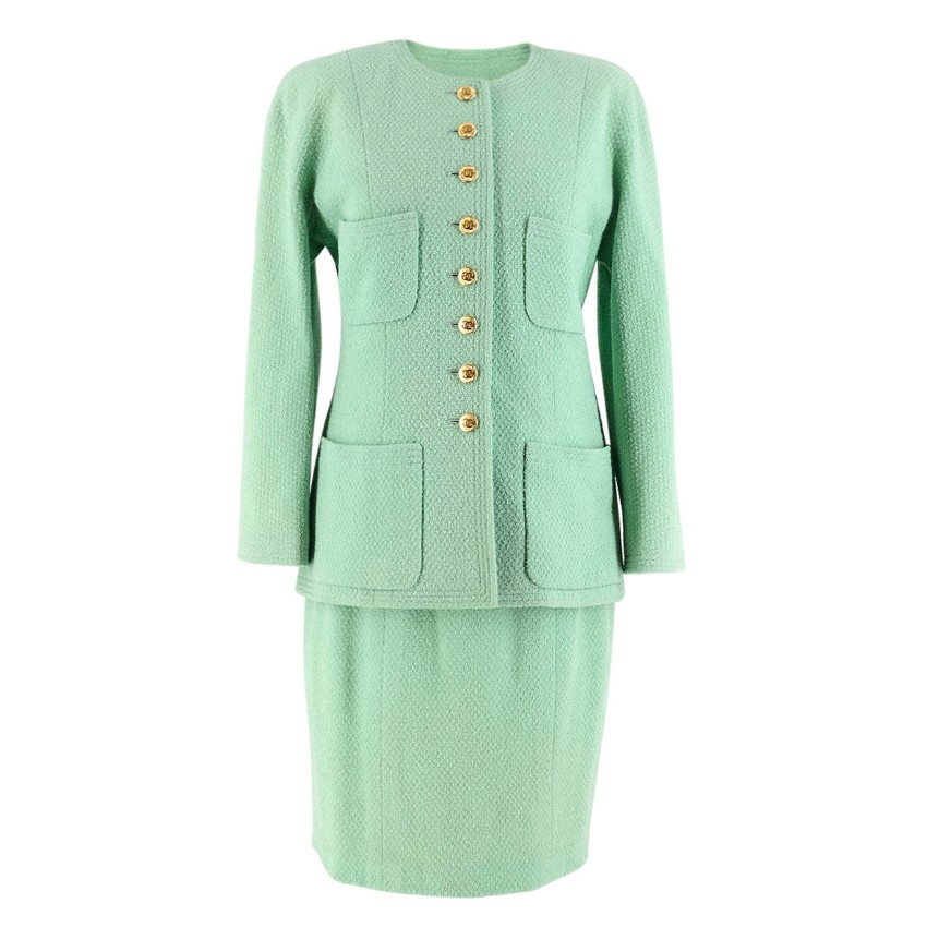 Chanel Boutique Vintage Green Wool Jacket & Skirt Set