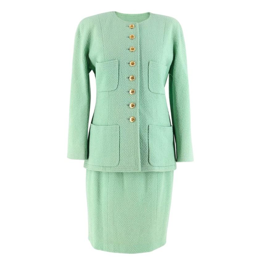 Chanel Boutique Vintage Green Wool Jacket & Skirt Set
