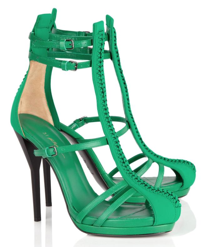 83e4619785e1 3.1 Phillip Lim Absinthe Neoprene   Leather Strappy Sandal