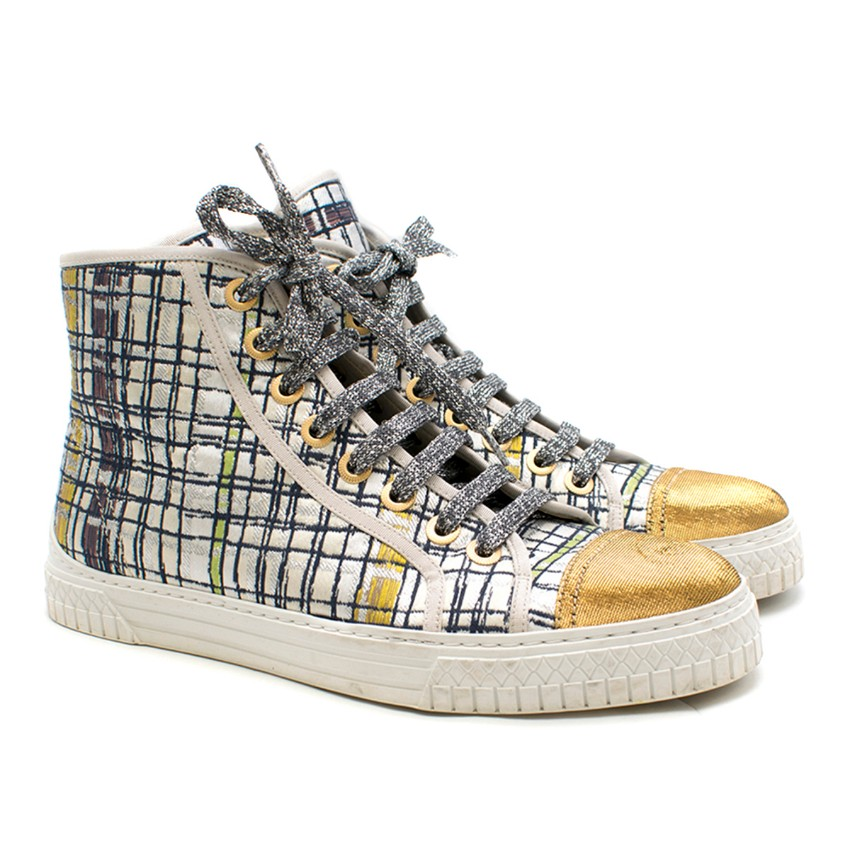 Chanel Metallic Tweed High-Top Sneakers