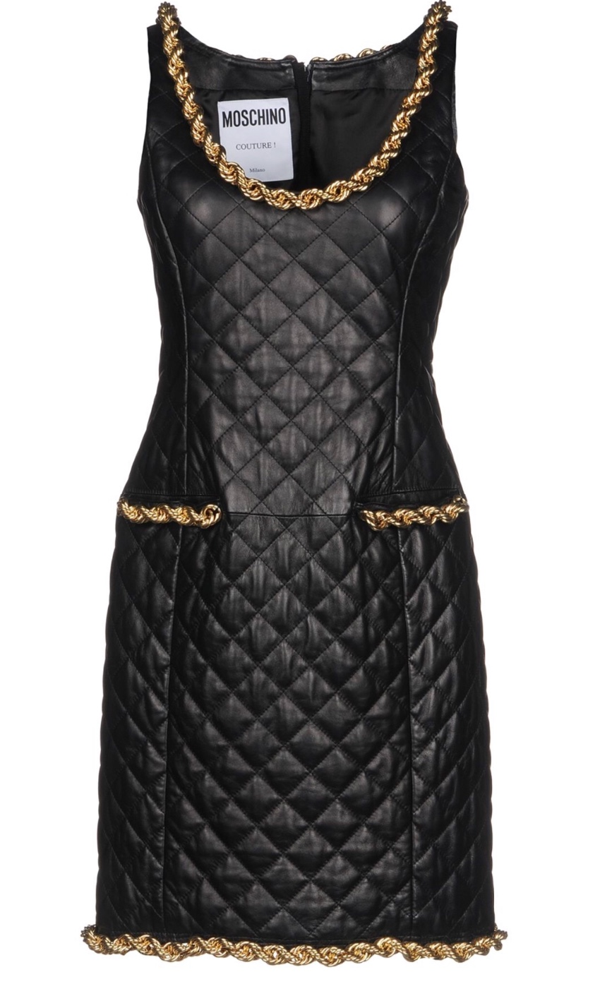 Moschino Couture Chain Trim Black Quilted Dress