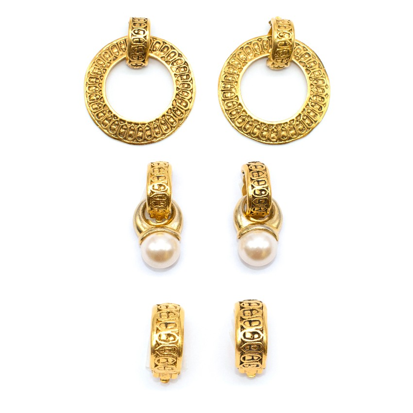 Chanel Vintage Gold Vermeil Multi Earring Set