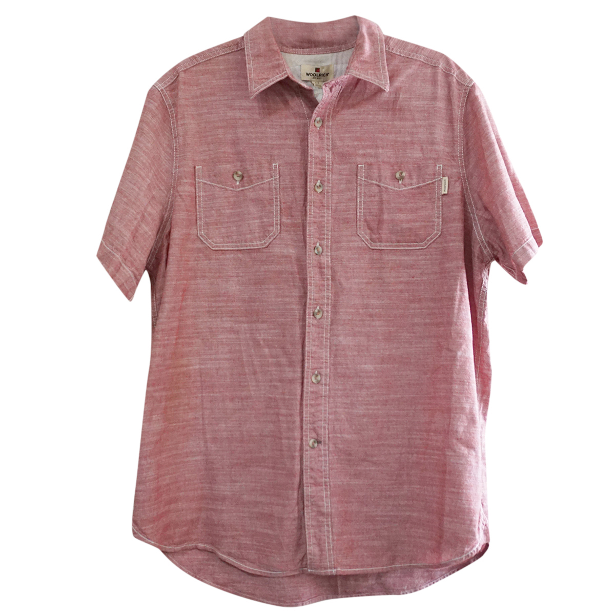 Woolrich Pink Melange Short Sleeved Button-Front Shirt