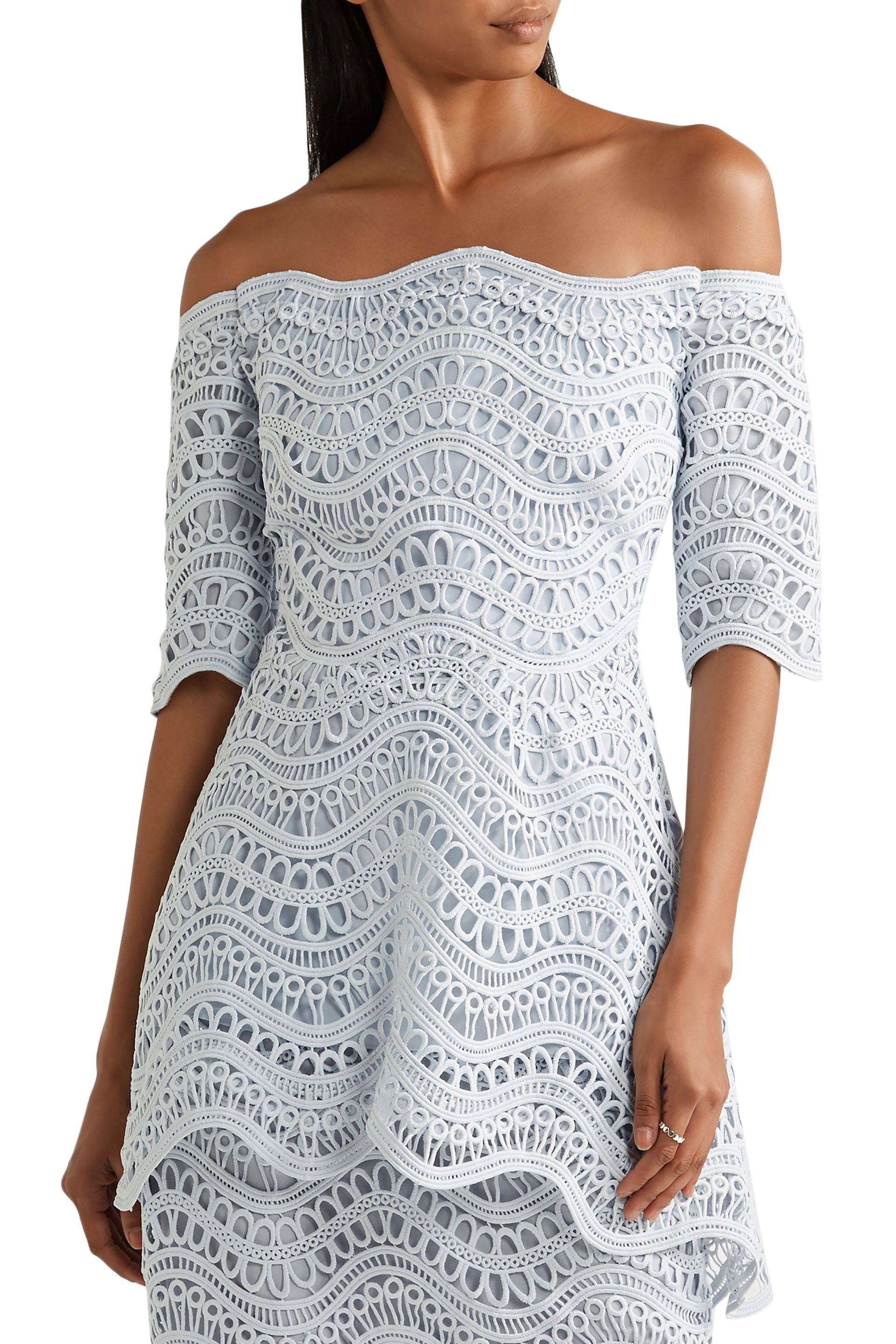 Lela Rose Off-the-shoulder guipure lace peplum top