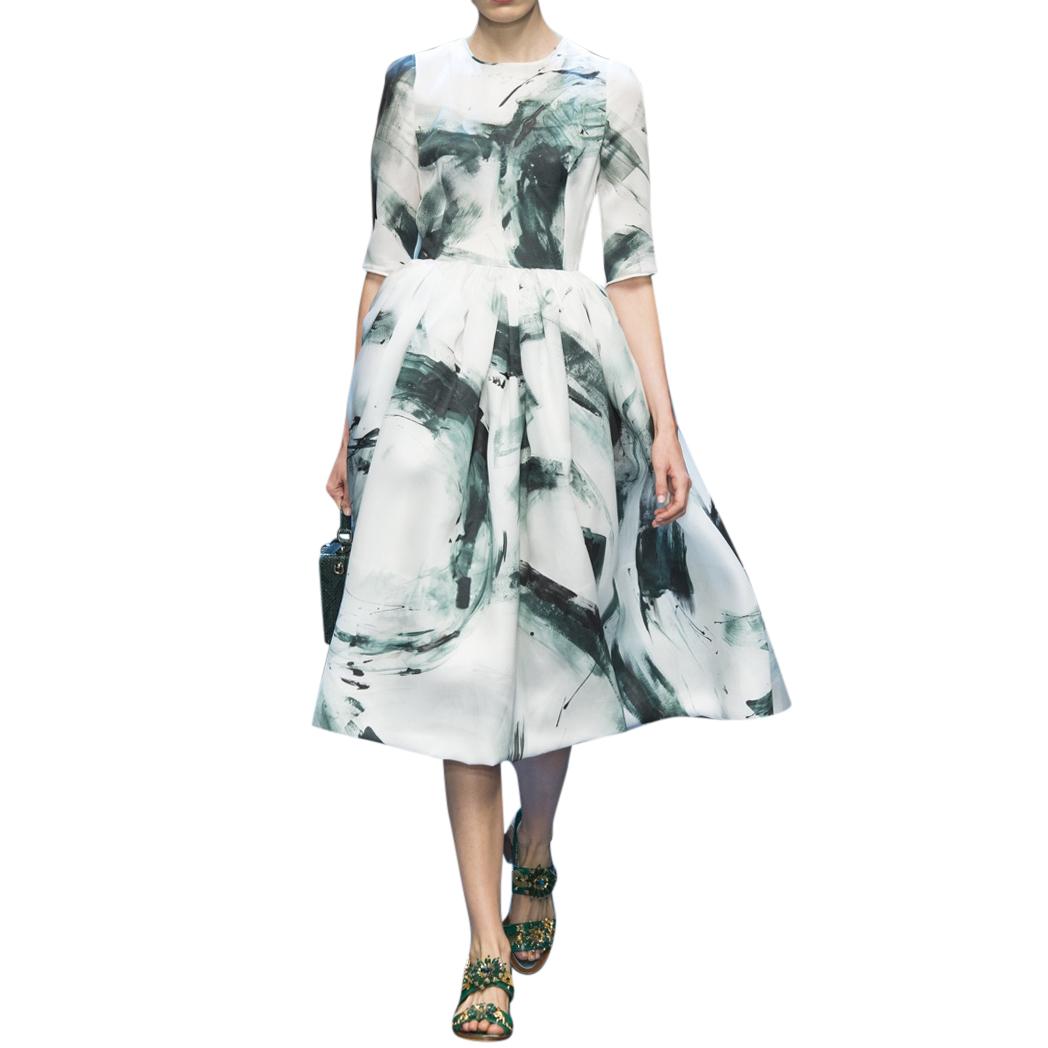 Dolce & Gabbana Brush Stroke Silk Organza Dress