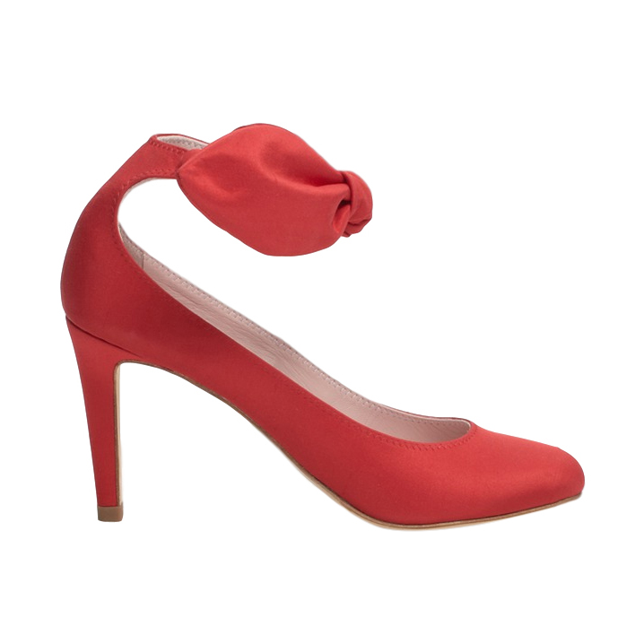 Carven Red Satin Bow Strap Pumps
