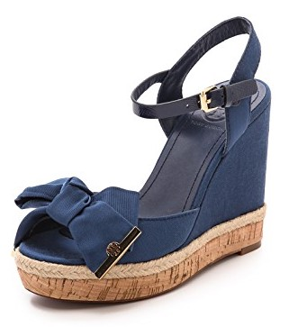 Tory Burch Blue Penny Wedge Sandals