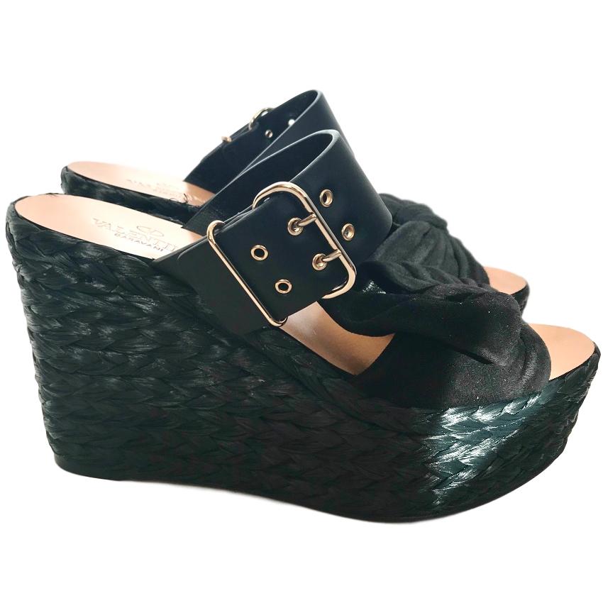 Valentino Black Raffia Wedge Sandals