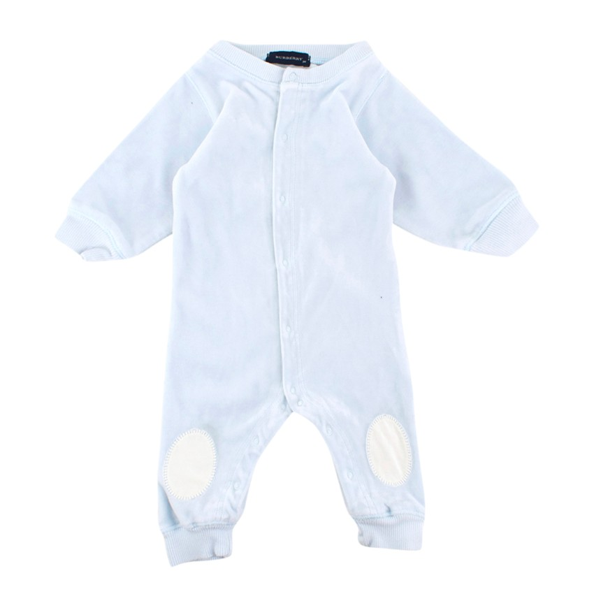 Burberry 3 Month Blue Velour Baby Grow