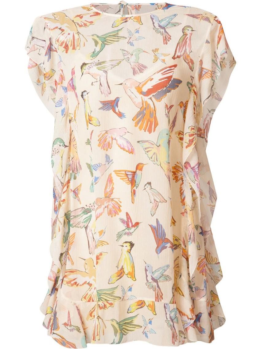 Red Valentino Bird Print Ruffled Silk Mini Dress