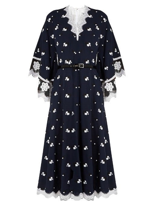 Andrew GN Floral-Embroidered Silk & Cotton-Blend Dress