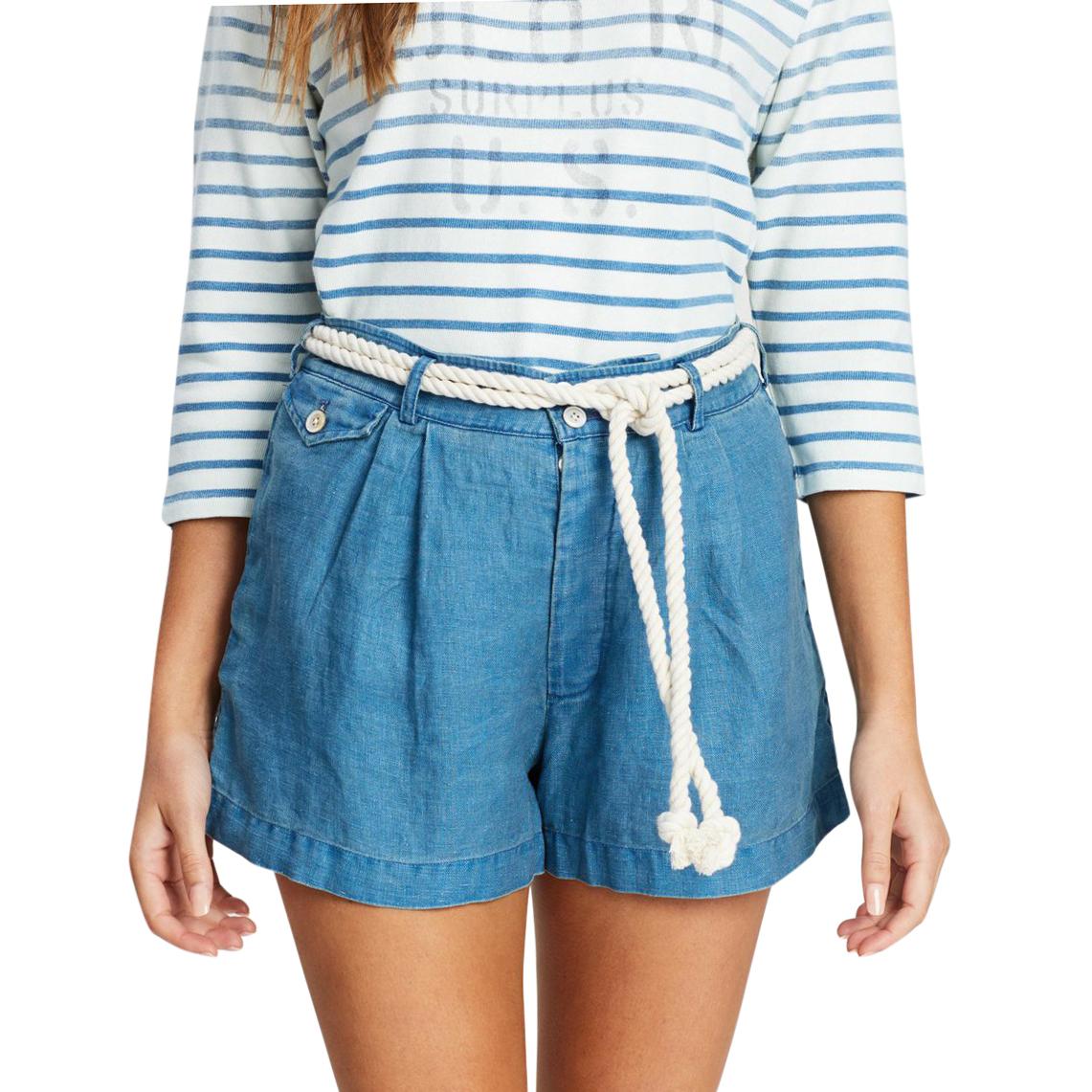Polo Ralph Lauren blue linen rope trim shorts