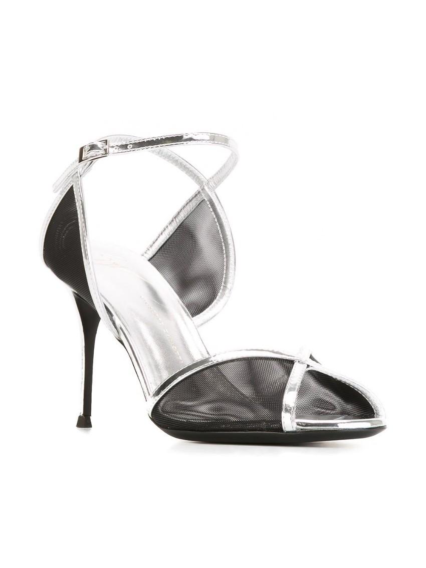 Giuseppe Zanotti Black and Silver  Mesh Panel Sandals