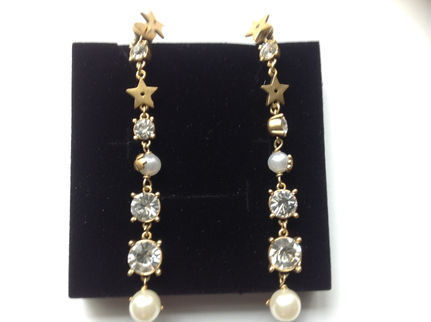 Dior long faux pearl drop earrings