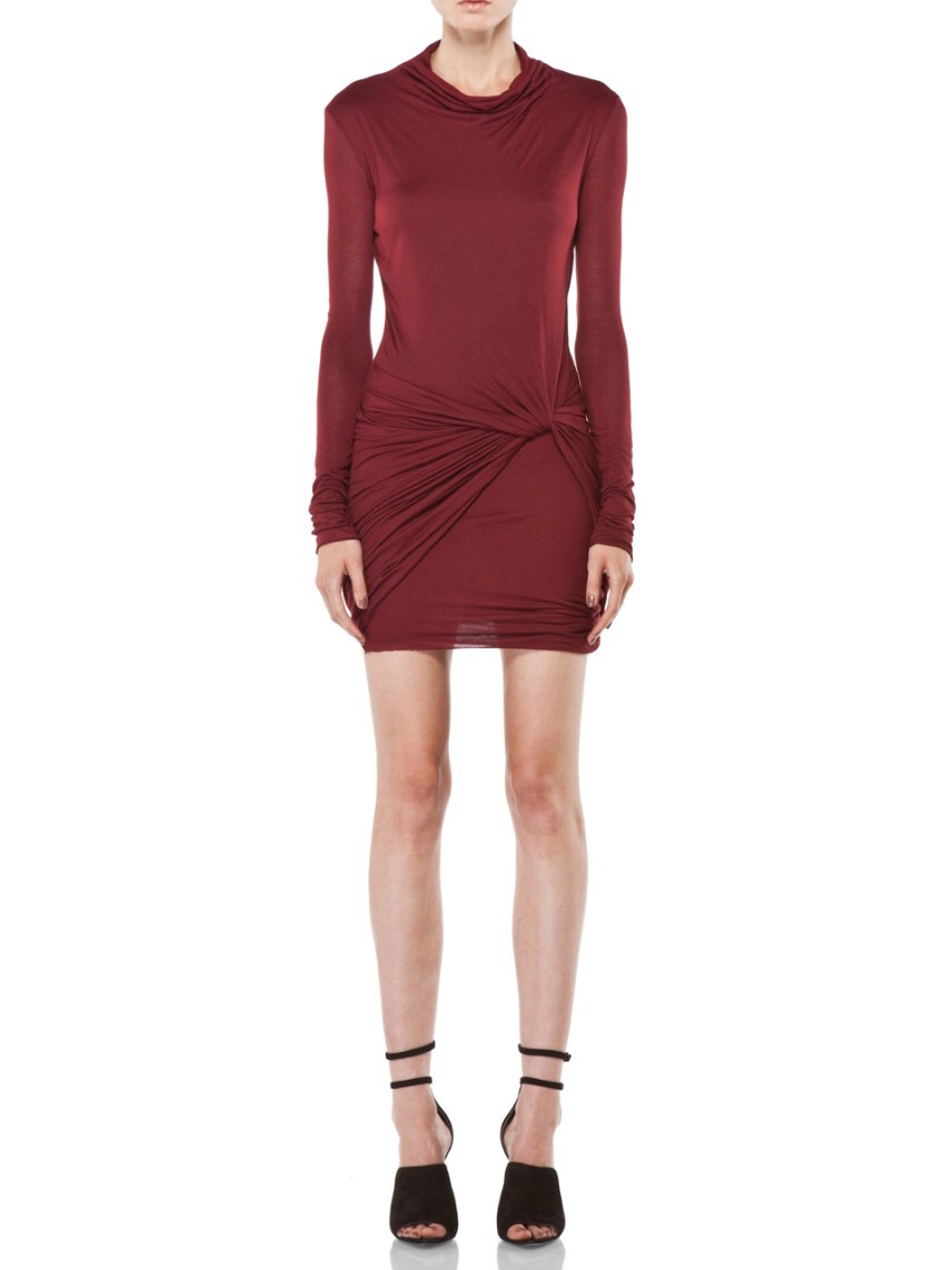 Helmut Lang Red Draped Fitted Mini Dress
