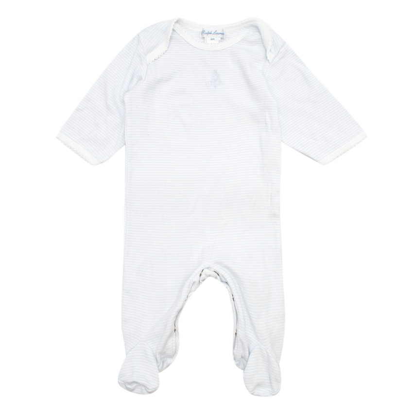 Ralph Lauren 6-Months White and Blue Striped Baby Grow