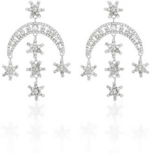 Jennifer Behr Crystal Moon & Cascading Star Earrings