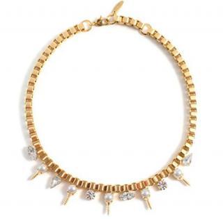 Joomi Lim Crystal & Faux Pearl Screw Necklace - Worn by Miley Cyrus