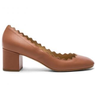 Chloe Lauren scalloped leather pumps