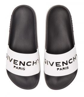 Givenchy Men's White & Black Logo Slides