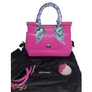 Dolce & Gabbana Small Pink Miss Sicily Bag W/ Hermes Twilly