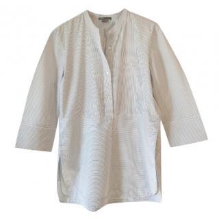 Vince cotton white mandarin collar shirt with charcoal pinstripe