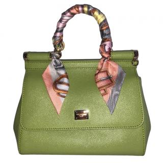 Dolce & Gabbana Small Lime Green Miss Sicily Bag W/ Hermes Twilly