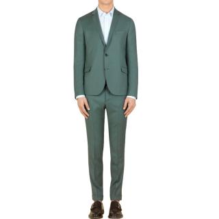 Gucci green wool cavalry twill slim fit suit