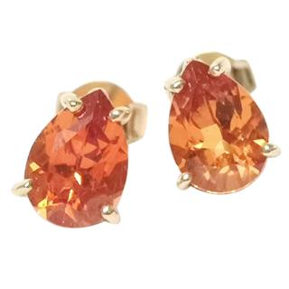 Bespoke Pear Shaped Orange Sapphire Stud Earrings Gold