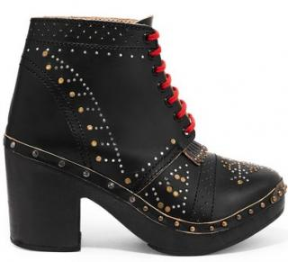 Burberry Studded Lace-Up Ankle Boots