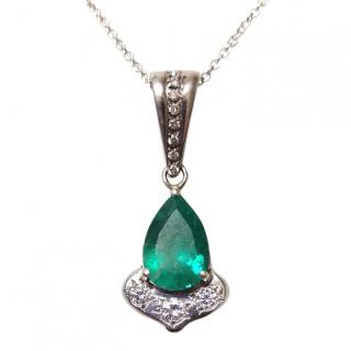 Bespoke Diamond & Emerald Pendant White Gold