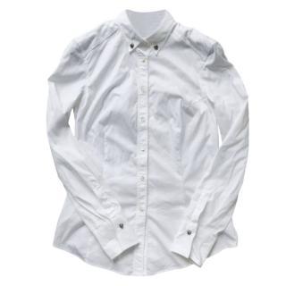 Brunello Cucinelli white embellished cotton shirt