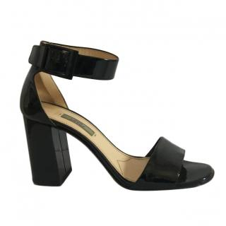 Prada black patent ankle strap sandals