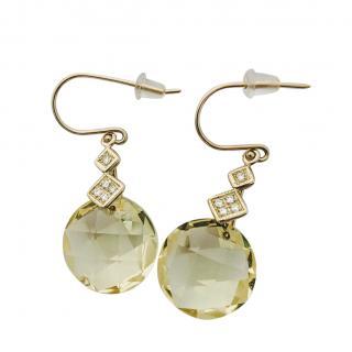 Bespoke 64ct Lemon Quartz & 0.30ct Diamonds Drop Earrings