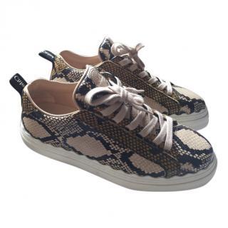 Chloe Python Print Calfskin Sneakers