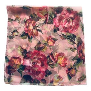 Dolce & gabbana Pink Rose Print Silk Scarf