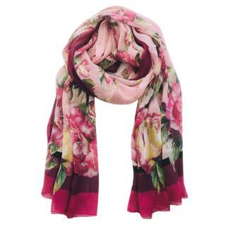 Dolce & Gabbana Pink Roses silk scarf
