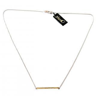 Jewelili Yellow Diamond Bar Necklace